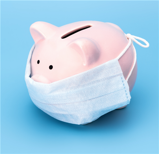 Image: Piggy bank with face mask