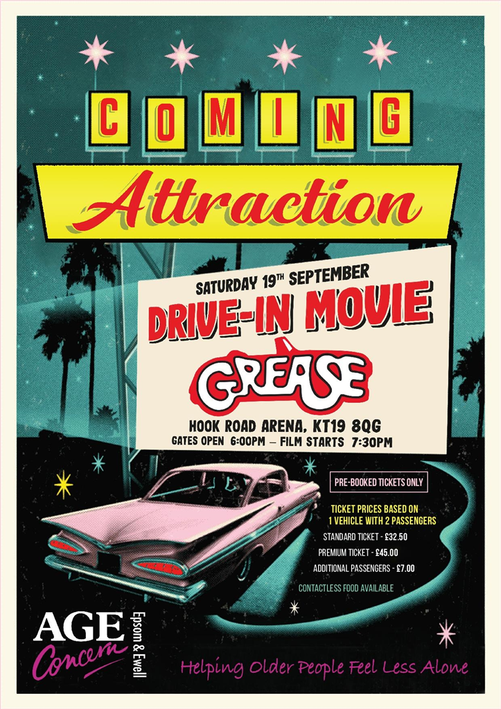 Grease Drive in movie 19 Septemeber Hook Road arena in aid of Age Concern Epsom & Ewell