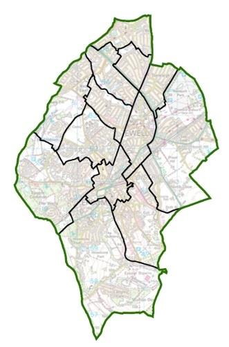 Image: Current wards in Epsom and Ewell